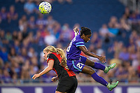 Orlando, Florida - Sunday, May 14, 2016: Western New York Flash forward Makenzy Doniak (3) and Orlando Pride midfielder Jasmyne Spencer (23) during a National Women's Soccer League match between Orlando Pride and New York Flash at Camping World Stadium.