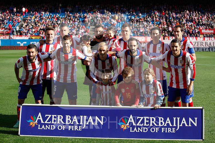 Atletico de Madrid´s players before 2014-15 La Liga match between Atletico de Madrid and Deportivo de la Coruña at Vicente Calderon stadium in Madrid, Spain. November 30, 2014. (ALTERPHOTOS/Victor Blanco)