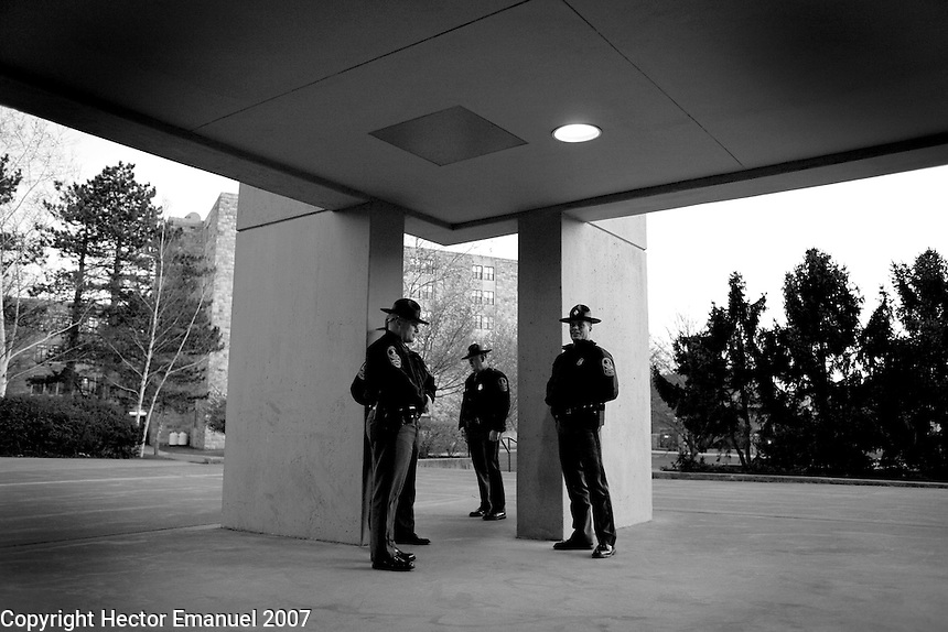 VA State Police near Ambler Johnston dormitory the evening of the day of the shootings....photo: Hector Emanuel