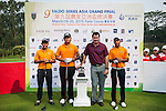 Group 12 pose with Sir Nick Faldo prior to day 3 of the 9th Faldo Series Asia Grand Final 2014 golf tournament on March 20, 2015 at Faldo course in Mid Valley Golf Club in Shenzhen, China. Photo by Xaume Olleros / Power Sport Images