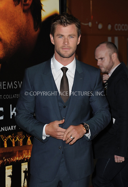 WWW.ACEPIXS.COM<br /> <br /> Januarey 8 2015, LA<br /> <br /> Actor Chris Hemsworth attending the 'Black Hat' premiere at the TCL Chinese Theatre IMAX on January 8, 2015 in Hollywood, California.<br /> <br /> By Line: Peter West/ACE Pictures<br /> <br /> <br /> ACE Pictures, Inc.<br /> tel: 646 769 0430<br /> Email: info@acepixs.com<br /> www.acepixs.com