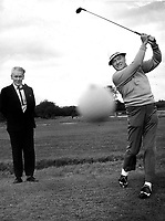 Bob Hope playsing golf in Killarney in 1972 with Capt DD O'Connell, Manager.<br /> Picture by Donal MacMonagle
