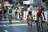 a 'crooked' Bauke Mollema (NLD/Trek-Segafrdo) crossing the finish line <br /> <br /> 102nd Li&egrave;ge-Bastogne-Li&egrave;ge 2016
