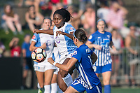Allston, MA - Saturday August 19, 2017: Jamia Fields, Dani Weatherholt during a regular season National Women's Soccer League (NWSL) match between the Boston Breakers and the Orlando Pride at Jordan Field.