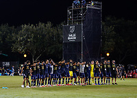 LAKE BUENA VISTA, FL - JULY 26: Sporting KC players celebrate during a game between Vancouver Whitecaps and Sporting Kansas City at ESPN Wide World of Sports on July 26, 2020 in Lake Buena Vista, Florida.