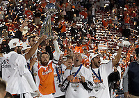 Houston Dynamo team captain Wade Barrett hoists the MLS Cup. Houston Dynamo beat the New England Revolution 4-3 to win the MLS Cup at Pizza Hut Park in Frisco, TX on November 12, 2006.