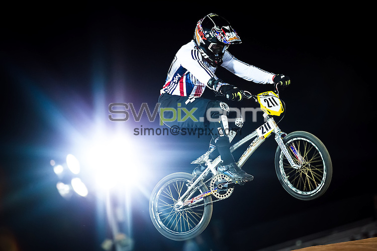 Picture by Alex Whitehead/SWpix.com - 27/05/2016 - Cycling - 2016 UCI BMX World Championships - Mariana Pajon BMX Track, Medellin, Colombia - Great Britain's Kyle Evans in action during the Men's Elite practice session.