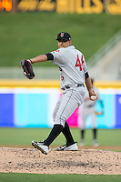 Indianapolis Indians starting pitcher Wilfredo Boscan (46) in action against the Durham Bulls at Durham Bulls Athletic Park on August 4, 2015 in Durham, North Carolina.  The Indians defeated the Bulls 5-1.  (Brian Westerholt/Four Seam Images)