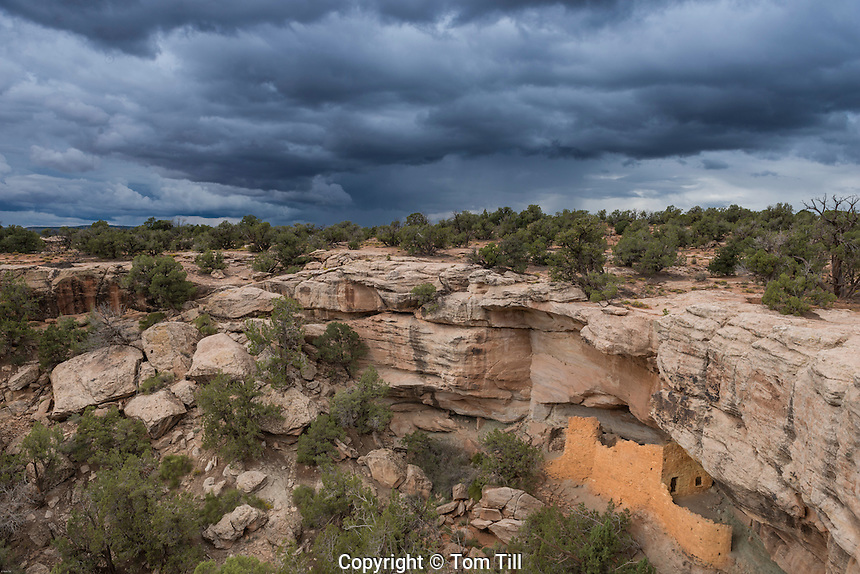 Ancestral Pubeloan ruin and threatening sky, Proposed San Juan Anasazi Wilderness,Utah