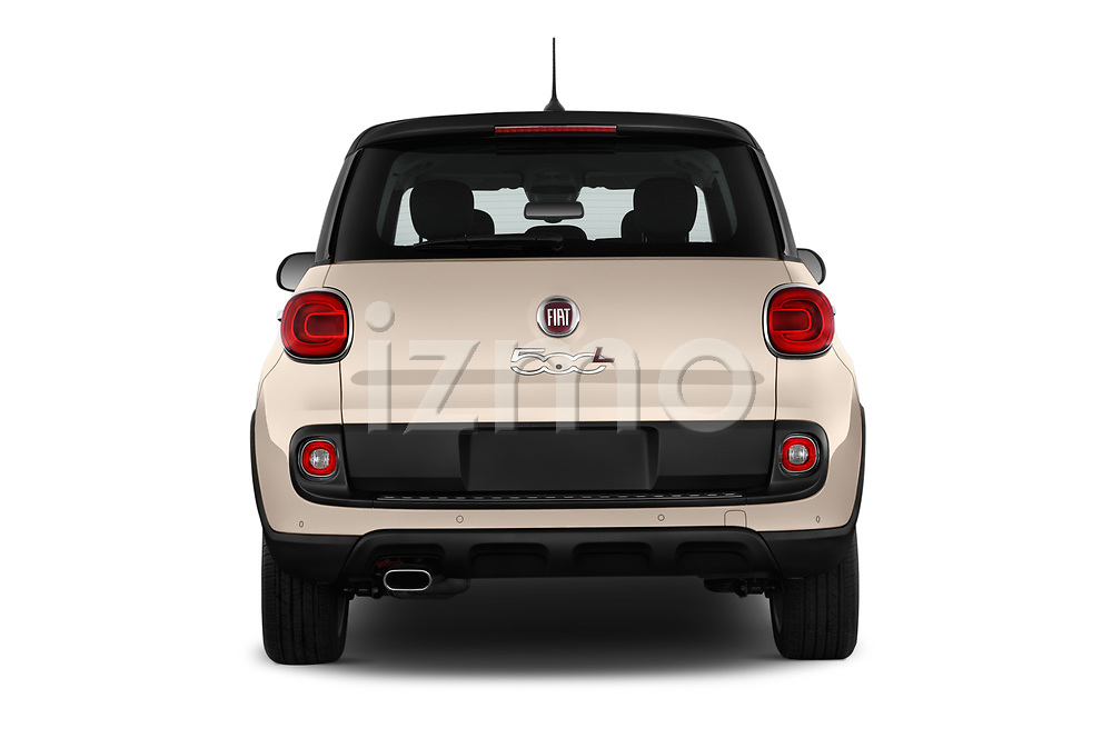 Straight rear view of 2016 Fiat 500L Trekking 5 Door Mini MPV Rear View  stock images