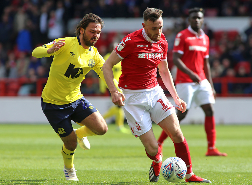 Nottingham Forest's Jack Robinson gets away from Blackburn Rovers' Bradley Dack<br /> <br /> Photographer David Shipman/CameraSport<br /> <br /> The EFL Sky Bet Championship - Nottingham Forest v Blackburn Rovers - Saturday 13th April 2019 - The City Ground - Nottingham<br /> <br /> World Copyright © 2019 CameraSport. All rights reserved. 43 Linden Ave. Countesthorpe. Leicester. England. LE8 5PG - Tel: +44 (0) 116 277 4147 - admin@camerasport.com - www.camerasport.com