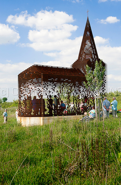"The ""Reading Between The Lines"" transparant art church installation in Borgloon, designed by architects Pieterjan Gijs and Arnout Van Vaerenbergh (Belgium, 31/05/2014)"
