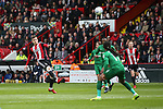 Lee Evans of Sheffield Utd volleys towards goal during the championship match at the Bramall Lane Stadium, Sheffield. Picture date 28th April 2018. Picture credit should read: Simon Bellis/Sportimage