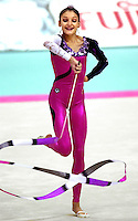 02 OCTOBER 1999 - OSAKA, JAPAN: Esther Dominguez of Spain performs with ribbon at the 1999 World Championships in Osaka, Japan.  Esther placed 9th in the all-around.