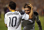 20 November 2011: Los Angeles' David Beckham (ENG) (behind) and Landon Donovan (10) embrace at the end of the game. The Los Angeles Galaxy defeated the Houston Dynamo 1-0 at the Home Depot Center in Carson, CA in MLS Cup 2011, Major League Soccer's championship game.