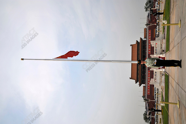 The Chinese national flag flies at half staff in memory of the victims of the 2008 Wenchuan Earthquake, Tian'anmen Square, Beijing, China, May 19, 2008.