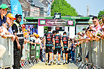 BMC Racing Team walk to the stage outside Le Palais des Princes-&Eacute;v&ecirc;ques at the team presentation before the 104th edition of La Doyenne, Liege-Bastogne-Liege 2018, Belgium. 21st April 2018.<br /> Picture: ASO/Gautier Demouveaux | Cyclefile<br /> <br /> <br /> All photos usage must carry mandatory copyright credit (&copy; Cyclefile | ASO/Gautier Demouveaux)