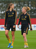 20191006 TUBIZE: Red Flames' Marie Minnaert (left) and Charlotte Tison (right) are pictured at the Open Training of Red Flames on Sunday 6th of October 2019, Tubize, Belgium  PHOTO SPORTPIX.BE | SEVIL OKTEM