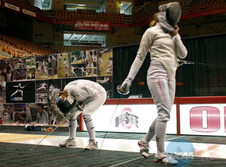 14 MAR 2008: Kelley Hurley of Notre Dame reacts after defeating Reka Szele of St. John's in the gold medal epee competition during the Division I Women's Fencing Championship held at St. John Arena on the Ohio State University campus in Columbus, OH. Hurley defeated Szele 11-10 to claim the gold medal. Renee Sauer/NCAA Photos
