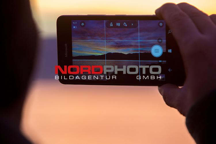 30.11.2016. Rijeka, Croatia - Romantic colours of the sky over the sea.<br /> <br /> Foto &copy;  nordphoto / PIXSELL / Nel Pavletic