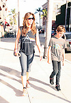 AbilityFilms@YAHOO.COM.805 427 3519.www.AbilityFilms.com...June 6th 2012..Charisma Carpenter & son Donovan strolling in Beverly Hills wearing a pink floyd shirt