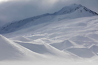 Snow over the moraine mounds on the Canwell Glacier in the Alaska Range mountains.