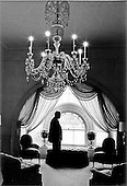 That is the silhouetted figure of United States President Gerald R. Ford as he inspects the East Hall of the White House Residence in Washington, D.C. on August 13, 1974.<br /> Mandatory Credit: David Hume Kennerly / White House via CNP