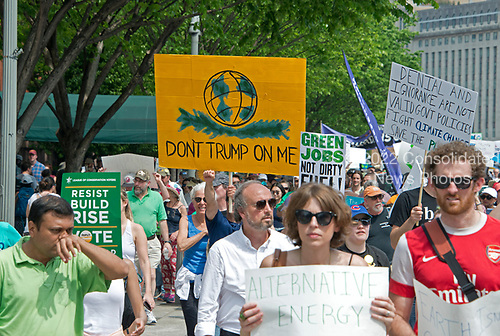 """Thousands of people are in the streets of the Nation's Capital as part of the """"Peoples Climate March"""" in Washington, DC on Saturday, April 29, 2017.<br /> Credit: Ron Sachs / CNP"""