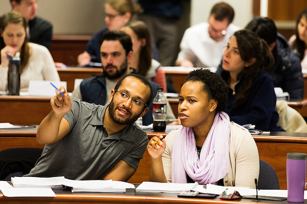 February 23, 2015. Durham, North Carolina.<br />  Students in Professor Elisabeth deFontenay's Corporate Finance class work together on class exercises on stock returns.<br />  The Duke University School of Law is considered one of the best law schools in the country.