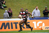 Kirisi Kuridrani gets a clear run to the try line for the Steelers. Mitre 10 Cup rugby game between Counties Manukau Steelers and Taranaki Bulls, played at Navigation Homes Stadium, Pukekohe on Saturday August 10th 2019. Taranaki won the game 34 - 29 after leading 29 - 19 at halftime.<br /> Photo by Richard Spranger.
