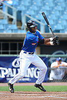 Outfielder Norman Howard (5) of Central High School in Phoenix City, Alabama playing for the New York Mets scout team during the East Coast Pro Showcase on July 31, 2013 at NBT Bank Stadium in Syracuse, New York.  (Mike Janes/Four Seam Images)
