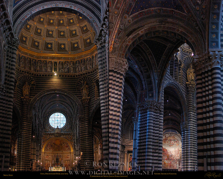 Architectural Detail, Nave and Drum under Dome, Apse, Gothic Arches in Chancel, Cathedral of Siena, Santa Maria Assunta, Siena, Italy