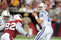 Sept. 27, 2009; Glendale, AZ, USA; Indianapolis Colts quarterback (18) Peyton Manning throws a pass in the first quarter against the Arizona Cardinals at University of Phoenix Stadium. Mandatory Credit: Mark J. Rebilas-
