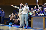 DURHAM, NC - NOVEMBER 16: High Point head coach DeUnna Hendrix (right) with associate head coach Heather Kearney (left). The Duke University Blue Devils hosted the High Point University Panthers on November 16, 2017 at Cameron Indoor Stadium in Durham, NC in a Division I women's college basketball game. Duke won the game 77-50.