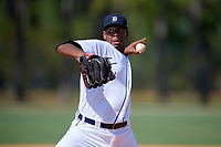 Detroit Tigers pitcher Richard Terrero (82) during an Instructional League game against the Philadelphia Phillies on September 19, 2019 at Tigertown in Lakeland, Florida.  (Mike Janes/Four Seam Images)