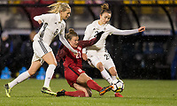 Columbus, Ohio - Thursday March 01, 2018: Lena Goeßling, Savannah McCaskill, Lina Magull during a 2018 SheBelieves Cup match between the women's national teams of the United States (USA) and Germany (GER) at MAPFRE Stadium.