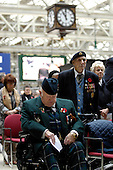 At the 11th Hour on the 11th Day, Remembrance at Glasgow Central Station - Colin McCready (front), from Douglas, Lanarkshire, who served in the Army from 1959, and Edward Quigley, from Paisley Rd, Glasgow, who served in WWII with the Army Service Corps and the 8th Army, remember fallen comrades as the Station clock strikes 11 - picture by Donald MacLeod 11.11.10 - mobile 07702 319 738 - clanmacleod@btinternet.com - www.donald-macleod.com