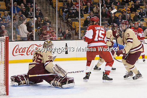 Parker Milner (BC - 35), Ryan Santana (BU - 15), Patch Alber (BC - 3) -  - The Boston University Terriers defeated the Boston College Eagles 6-3 (EN) in their Hockey East semifinal on Friday, March 22, 2013, at TD Garden in Boston, Massachusetts.
