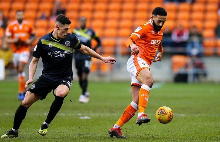 Blackpool's Liam Feeney shields the ball from Shrewsbury Town's James Bolton<br /> <br /> Photographer Alex Dodd/CameraSport<br /> <br /> The EFL Sky Bet League One - Blackpool v Shrewsbury Town - Saturday 19 January 2019 - Bloomfield Road - Blackpool<br /> <br /> World Copyright &copy; 2019 CameraSport. All rights reserved. 43 Linden Ave. Countesthorpe. Leicester. England. LE8 5PG - Tel: +44 (0) 116 277 4147 - admin@camerasport.com - www.camerasport.com