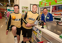 Footballers from The White Swan FC popped into the Pharmacy at ASDA Newark to try out their new free blood pressure testing service. Pictured from left are Alvin Sheldon, Peter Culpin and Dispensing Assistant Sam Maxwell