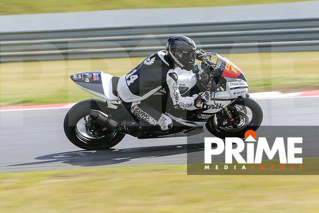 Tim Neave of the Neave Twins team (No. 14) competing in the Pirelli National Superstock 600 Championship during Sunday Warm-up at Round 5 of the 2017 MCE British Superbikes Championship  at Snetterton Circuit, Norwich, England on 2 July 2017. Photo by David Horn.