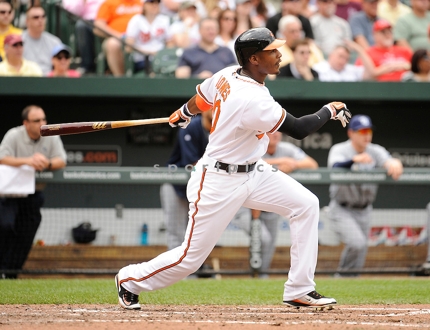 ADAM JONES, of the Baltimore Orioles, in action during the Orioles game against the Tampa Bay Rays, on May 7, 2011 at Oriole Park in Baltimore, Maryland.  The Rays beat the Orioles 8-2.