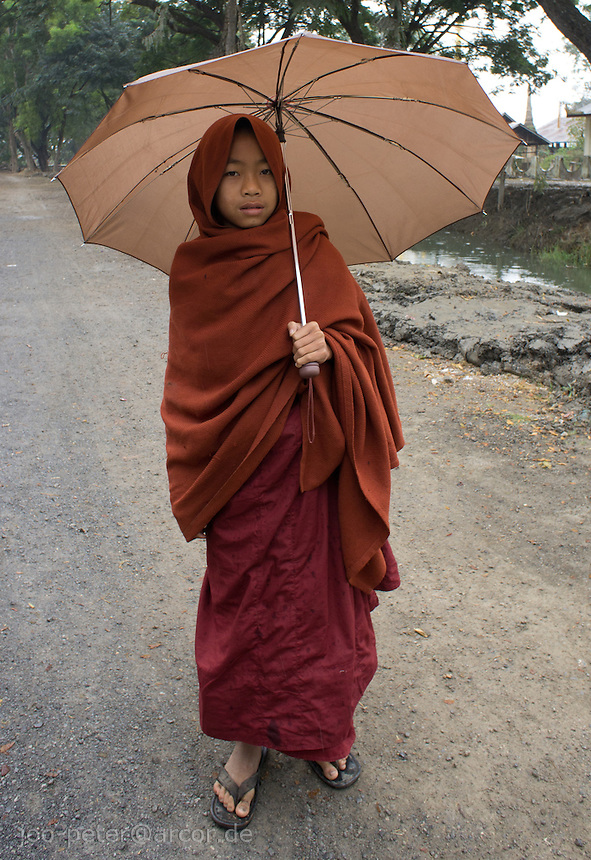 young monk with umbrella in the rain, village  Nyaungshwe close