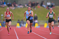 Genna Maples (Whanganui Collegiate School) competes in the senior girls 100m quarterfinals. 2019 New Zealand Secondary Schools Athletics Championships at Newtown Park in Wellington, New Zealand on Saturday, 7 December 2019. Photo: Dave Lintott / lintottphoto.co.nz