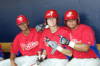 GCL Phillies Gustavo Gonzalez, Carlos Tocci, and Willans Astudillo before a Gulf Coast League game against the GCL Yankees at Legends Field on July 17, 2012 in Tampa, Florida.  GCL Phillies defeated the GCL Yankees 4-2.  (Mike Janes/Four Seam Images)