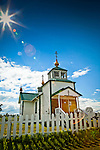 Holy Transfiguration of Our Lord Chapel on a sunny day, Ninilchik, Kenai Penisaula, Southcentral Alaska, Summer.