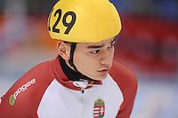 "SHORT TRACK: MOSCOW: Speed Skating Centre ""Krylatskoe"", 14-03-2015, ISU World Short Track Speed Skating Championships 2015, Shaolin Sandor LIU (#129   HUN), ©photo Martin de Jong"