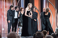 Accepting the Golden Globe for BEST MOTION PICTURE &ndash; COMEDY OR MUSICAL for &quot;Lady Bird&quot; is Timoth&eacute;e Chalamet, Evelyn O'Neil, Eli Bush, Greta Gerwig and Laurie Metcalf with presenters Alicia Vikander and Michael Keaton at the 75th Annual Golden Globe Awards at the Beverly Hilton in Beverly Hills, CA on Sunday, January 7, 2018.<br /> *Editorial Use Only*<br /> CAP/PLF/HFPA<br /> &copy;HFPA/PLF/Capital Pictures
