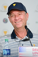 Davis Love III (USA) shares a laugh during round 1 player selection for the 2017 President's Cup, Liberty National Golf Club, Jersey City, New Jersey, USA. 9/27/2017.<br /> Picture: Golffile | Ken Murray<br /> <br /> <br /> All photo usage must carry mandatory copyright credit (&copy; Golffile | Ken Murray)