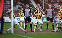 East Fife's Craig Johnstone clears Par's Jonathon Page's header off the line in the second half.